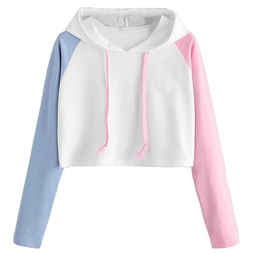 71d6d4922b2f Girls Sexy Loose Long Sleeve Crop Top Sweatshirt Patchwork Hooded T Shirt  Hoodie