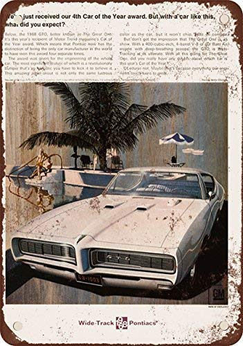 (FemiaD 1968 Pontiac GTO Vintage Look Reproduction Metal Tin Sign 12