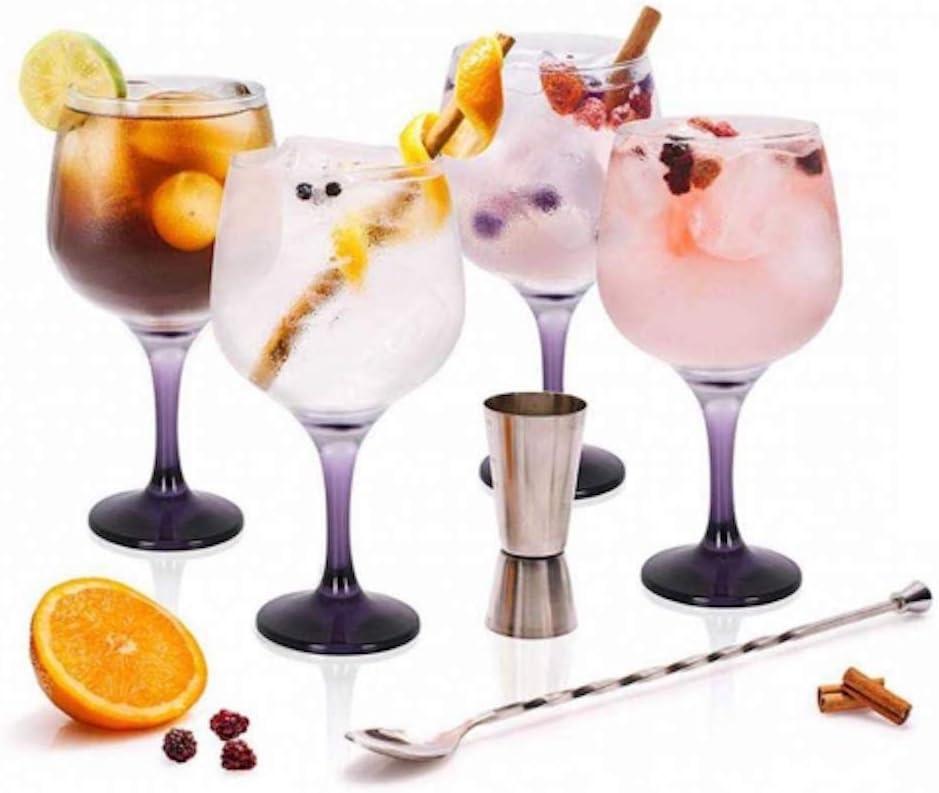 Stylehome Set Gin Tonic con 4 Copas de Balón, 1 Vaso Dosificador ...