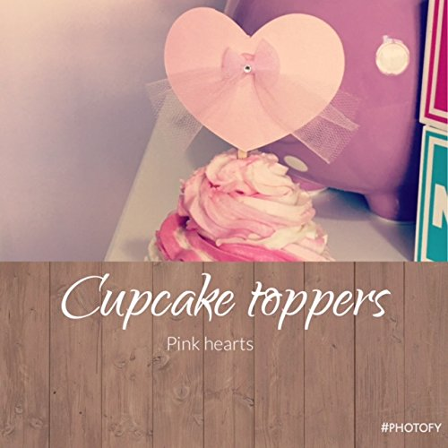 8 pieces Cupcake Toppers - Pink Hearts