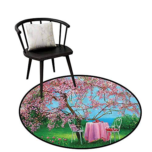 Flexible Round Rug Lakehouse Decor Collection Easy to Clean Tea Time with Vintage Chairs and Table Under Blossoming Plum in a Spring Garden View Oil Painting D16(40cm)