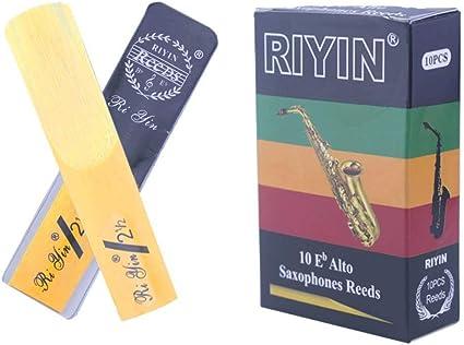 Cera cañas de saxofón de fuerza 2,5 cañas tradicionales de caña natural para saxofón alto EB, consistente y fácil de jugar, caja de 10 unidades, Alto Sax 2.5bE: Amazon.es: Instrumentos musicales