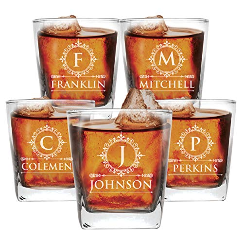 Set of 1, 2, 3, and More Custom Etched Whiskey Rocks Glasses for Wedding Party - Personalized Square Rocks Glass Gift for Groom, Groomsman - Contemporary Style ()