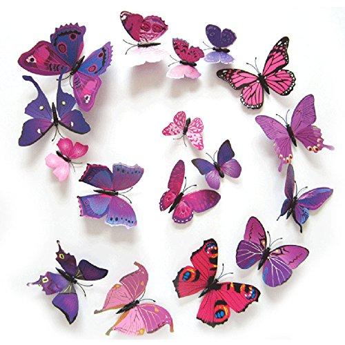 12PCS 3D PVC Magnet Butterflies DIY Wall Sticker Home Decor Purplish Red - 5
