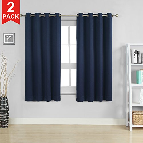 Moonen 99% Blackout Curtain for Bedroom Thermal Insulated Noise Proof Microfiber Heavy Silky Textured Darkening Grommet Top Drapes (2 Panels Set, Navy Blue, 52×84 Inches)