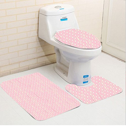 Keshia Dwete three-piece toilet seat pad customGrunge Romantic 60s 50s Retro Pop Art Inspired Polka Dots on Abstract Backdrop Light Pink and White 51X1PQ23nKL