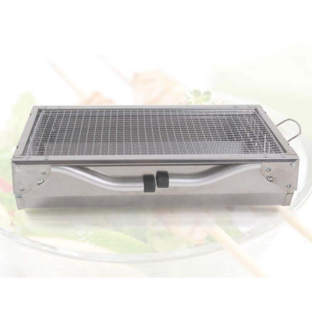 MEI XU Barbecue Grill BBQ Grill - Small Short Foot Stainless Steel Barbecue Charcoal Oven Portable Folding Grill Outdoor Camping Home by MEI XU (Image #4)