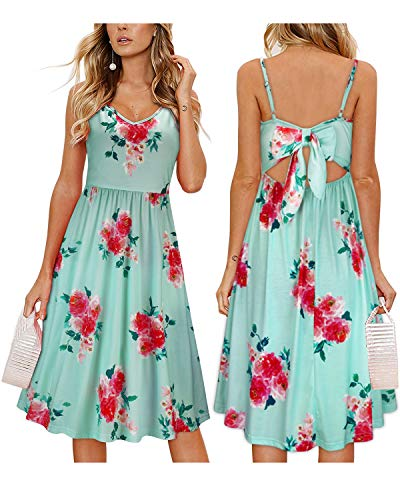 OUGES Womens Summer Backless Adjustable Spaghetti Strap Tie Back Floral Dress(Floral04,XL) ()
