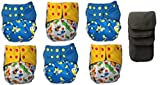 BambooDrive Bamboo Charcoal All In One Cloth Diaper Set One Size (6 Diapers + 3 Inserts) (Blue)