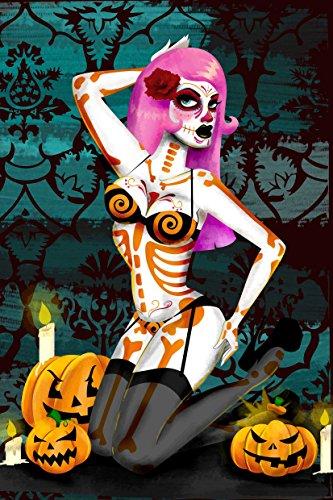 Bones by Andrea Young Halloween Skeleton Pin Up Girl Pumpkins Canvas Art Print -