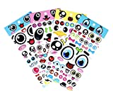 SET066-BIGEYE - Colorful Big Eye Sticker with Lips, Eyebrows, Beard, Mustache, Crown, Eyeglasses, Necktie etc. 4 Different Sheets Reusable Puffy Decorative Craft Scrapbooking Sticker Set