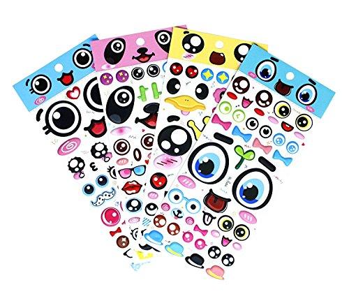SET066-BIGEYE - Colorful Big Eye Sticker with Lips, Eyebrows, Beard, Mustache, Crown, Eyeglasses, Necktie etc. 4 Different Sheets Reusable Puffy Decorative Craft Scrapbooking Sticker (Happy Halloween Water Bottle Labels)