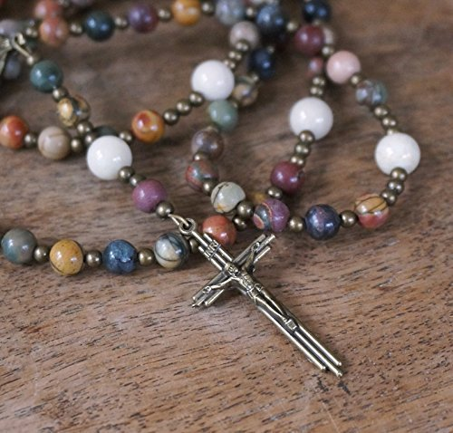 Handmade Franciscan Crown Rosary with natural gemstone beads, Red Creek Jasper & ()