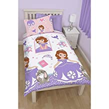 Disney Sofia The First Childrens Girls Academy Reversible Duvet Cover Bedding Set (Twin) (White/Pink/Purple)