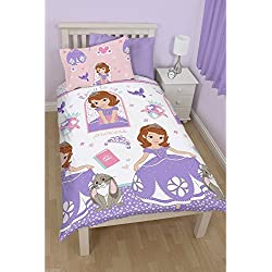 Disney Sofia The First Childrens Girls Reversible Duvet Cover Bedding Set (Twin) (White/Pink/Purple)