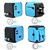 Universal Travel Adapter All-in-one Worldwide Travel Chargers Adapters for US UK AU EU Multi-national Wall Plug Universal Power Adapter Charger with Dual USB and Safety Fuse (Blue)