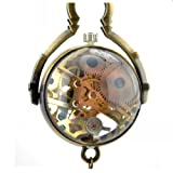 Vantasy Glasses Dia Window Vintage Unique Mechanical Skeleton Pendant Necklace Pocket Watch Bronze Hand Wind