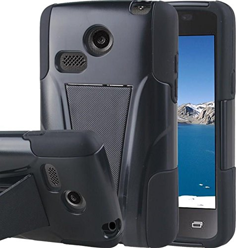 LG Sunrise Case, LG Lucky Case - Armatus Gear (TM) DUO SHIELD Hybrid Armor Case Phone Cover For NET10 LG Sunrise L15G and TRACFONE LG Lucky L16C - Black / Black