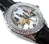 Happy New Year Gifts USFS354 New Leather 118 Diamond Crystal Watch / Staffordshire Bull Terrier Puppies Dog