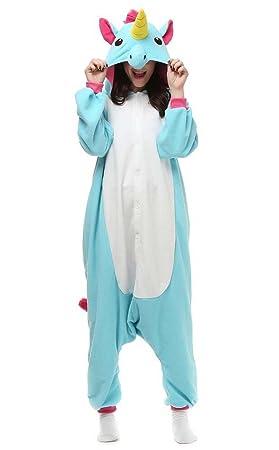 0b816ee4ade89 Venaster Pyjamas Licorne Adulte Unisexe Anime Cosplay Onesies Deguisement  Animaux Siamois Romper Pajamas Vêtements Bleu