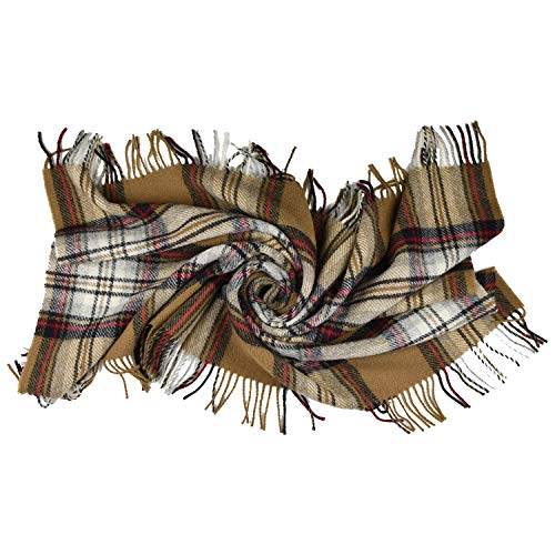 (Prince of Scots Highland Tartan Tweed 100% Pure New Wool Lap/Shaoulder Throw ~ Camel Stewart ~)