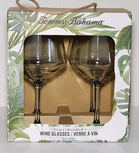 Tommy Bahama Acrylic Wine Glasses Palm Green Blue Tint BPA Free Set of Four Brand New Indoor Outdoor Kitchen Dishwasher Safe Shatterproof (Outdoor Dishes Tommy Bahama)