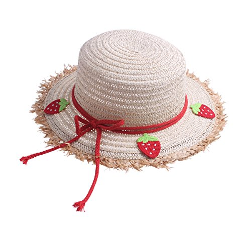 Toddler Kids Cute Fahion Floppy Straw Sun Hat with Braided Band Bowknot Strawberry