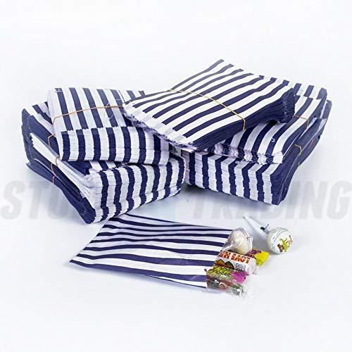 100 Blue & White Stripe Candy/Sweet Bags 5″ X 7″