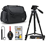 "Premium Camera Case + 72"" Tripod w/ 3 Way Pan-head + Camera Accessories kit for Olympus Cameras (Tripod and Case)"