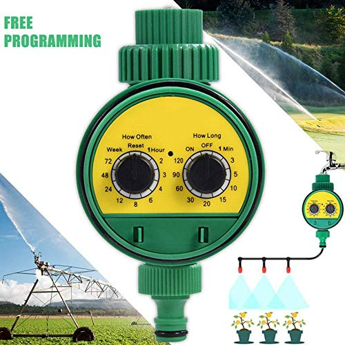 lesgos Water Hose Timer, 3/4″ 19mm Automatic Irrigation Watering Timer Single Outlet LCD Display Garden Greenhouse Plant Grass Digital Electronic Watering Timer