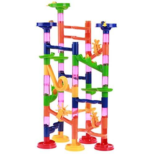 Marble Runs Toy Set,Tunnel Blocks Toy Kids DIY Assembly Beads Ball Race Track Maze Pipe Fun ()