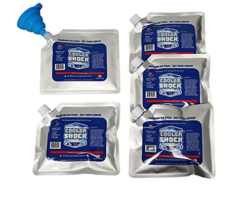 Set of 5 Cooler Shock lunch bag size ice packs - high performance 18 degree Fahrenheit using phase change science to achieve 8 -10 hour cooling - avoid spoilage so you can eat your lunch! Pack Cooler Bag