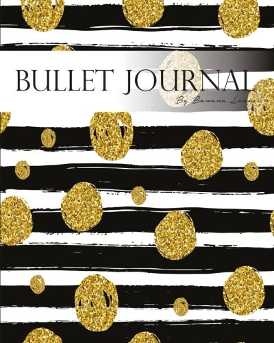 "Bullet Journal Notebook Dotted Grid,Graph Grid-Lined Paper, Large, 8""x10"",150 Pages: Modern Black White Line Strips with Gold Glitter Dots Fashion ... with Bullet Guide System Professional Journal"