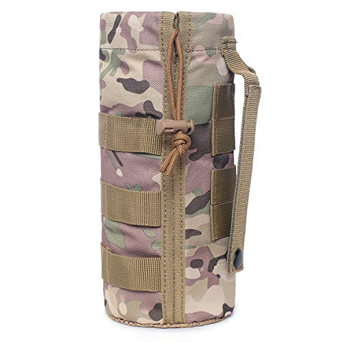 Tactical Molle Water Bottle Pouch Military Drawstring Open Top & Mesh Bottom Travel Water Bottle Holder Bag Tactical Hydration Carrier (CP)