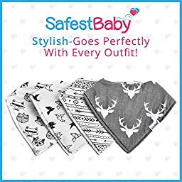 Waterproof Babies Bandana Drool Bib Set of 4: Cute Bibs to Keep Baby Clothes Dry. Infants & Toddlers Burpy Wrap w/ Adjustable Snaps. All-In-One Newborns Gifts That Moms Love. Boys & Girls Burp Cloths