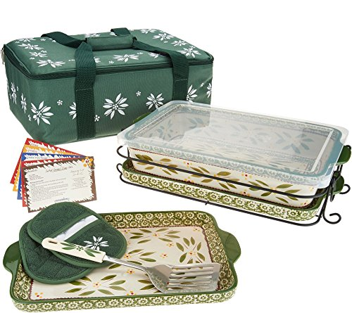 Temp-tations 13 inchx9 inch 4 Quart Baking Dish, Insulated Tote, 2 Stoneware Trays(Lid-It), Plastic Cover, Utensil, 2 Mitts (Old World Green)