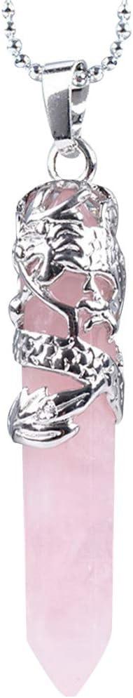 Tipo 5 Arichtop Unisex Hexagonal Piedra Natural de Cristal Colgante Collar de Cuello de Las Mujeres Collar de la joyer/ía