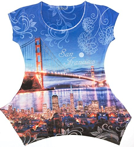 Sweet Gisele San Francisco Tunic Crew Neck Womens Rhinestone Decorated 3D T-Shirt