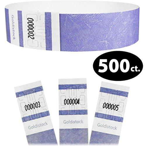(Goldistock Select Series- Tyvek Wristbands Lavendar Light Purple 500 Count - 3/4
