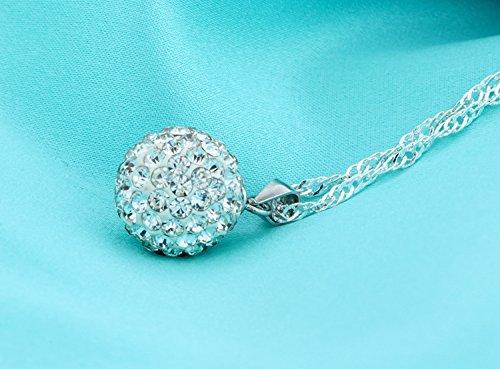 Ensemble collier et boucles doreille Argent fin 925 avec cristaux blancs de Swarovski