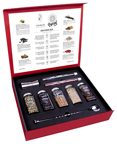 Gin and Tonic Premium Gift Set of Cocktail Botanicals and Spices with Spoon & Dispenser | Mixology Flavoring Kit by SAMARKAND
