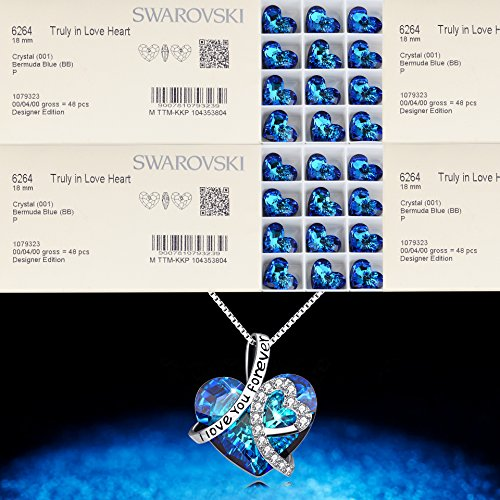 AOBOCO Heart Necklace 925 Sterling Silver I Love You Forever Pendant Necklace with Blue Swarovski Crystals Jewelry for Women Anniversary Birthday Gifts for Girls Girlfriend Wife Daughter Mom by AOBOCO (Image #4)