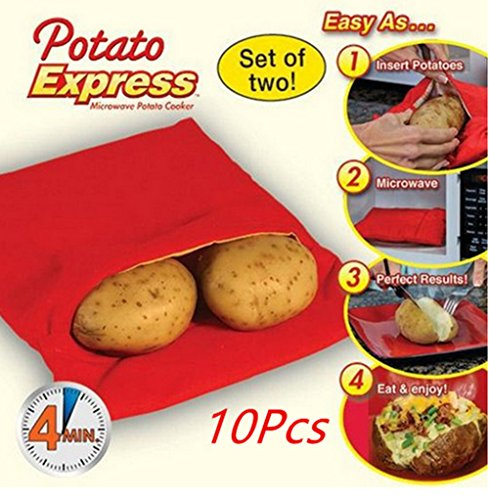 ASIBT (10 Pack )Microwave Potato Bag, Magnolian Corn, Day-old bread, Tortillas Cooker Bag, Washable and Reusable, Red (Potato Steamer)