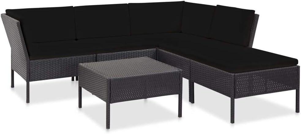 mit Auflagen Lounge M/öbel Sofa Sitzgarnitur Gartenset Sitzgruppe Gartensofa Gartengarnitur Poly Rattan Schwarz vidaXL Gartenm/öbel 6-TLG