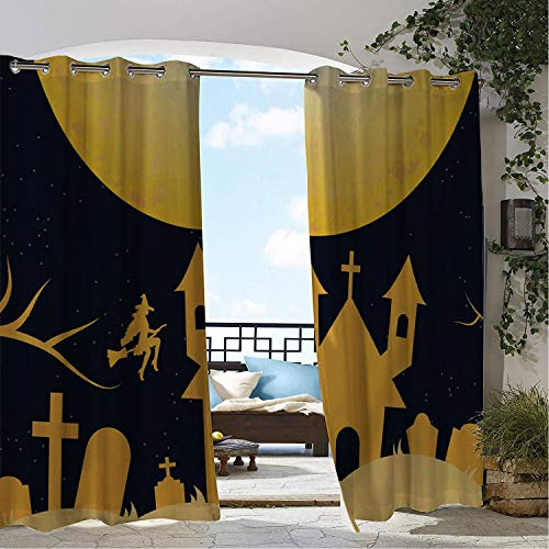 Patio Waterproof Curtain Yellow Halloween Castle Silhouette Porch Grommets Decor Curtains 108 by 96 inch -