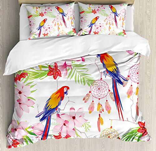 Ambesonne Parrot Duvet Cover Set Queen Size, Forest with Parrots and Native Ethnic Dreamcatchers Ancient Symbols Folk Artwork, Decorative 3 Piece Bedding Set with 2 Pillow Shams, Pink Green