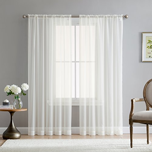 HLC.ME Ivory 54 inch x 84 inch Window Sheer Curtain Voile Panels for Bedroom, Living Room, Kitchen - Set of 2