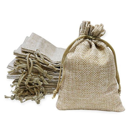 40 Pieces Burlap Bags with Drawstring, 5.4x3.7 inch Burlap Drawstring Gift Bag Jewelry Pouches for Wedding and Party Favors, DIY Craft, Presents, Christmas by Conpru