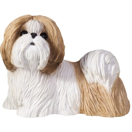Sandicast Small Size Gold and White Shih Tzu Sculpture, Standing