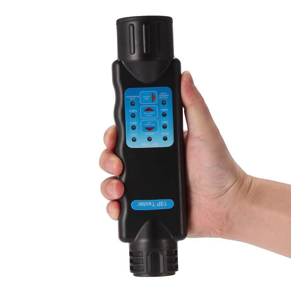 Vvciic 13 Pin Car Trailer 12V Socket Tester Tow Bar Light Wiring Circuit Tester Plug for Towing Car Caravan